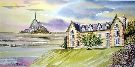 Watercolor of the château and Le Mont St-Michel