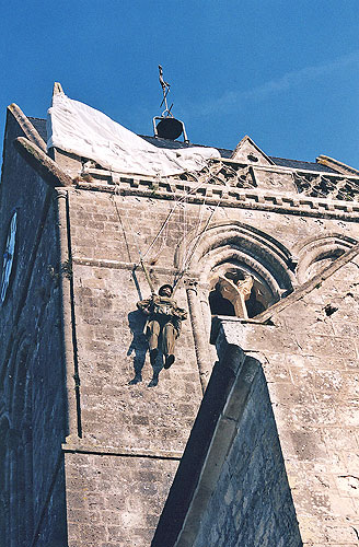 The church and paratrooper at Ste-Mère Eglise
